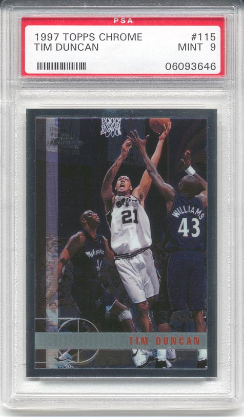 1997/98 Topps Chrome Tim Duncan Rookie (PSA 9)