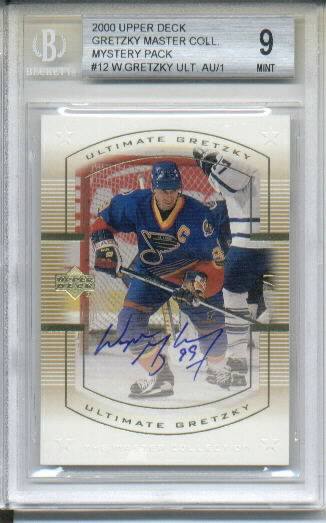 Wayne Gretzky Ultimate 2000 Upper Deck Wayne Gretzky Master Collection Mystery Pack #12 Autograph Serial #One of One BGS Graded Mint 9 - 1/1 - St. Louis Blues