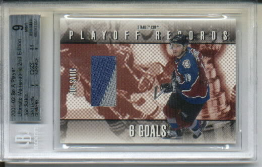 2001-02 BAP Ultimate Memorabilia Playoff Records #19 Joe Sakic/50