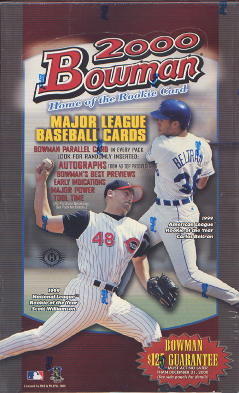 2000 Bowman Baseball Factory Sealed Hobby Box (Random Autographs) (Possible Rookies for Roy Oswalt, Carlos Zambrano, Barry Zito, Ben Sheets & others)(+ Pk of sleeves)