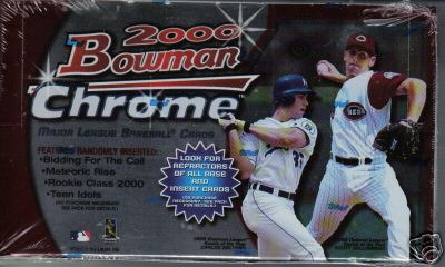 2000 Bowman Chrome Baseball Factory Sealed Hobby Box (Possible Rookie Cards for Roy Oswalt, Carlos Zambrano, Barry Zito, Ben Sheets, Brandon Inge and more) (Includes a pack of 100 card sleeves)