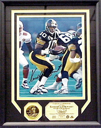 Kordell Stewart Hand-Autographed & Framed Photo with Coin