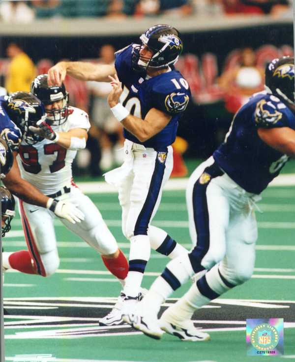 Eric Zeier 8 x 10 color Ravens photo