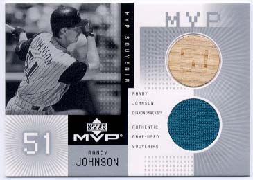 2002 Upper Deck MVP Game Souvenirs Bat Jersey Combos #CRJ Randy Johnson