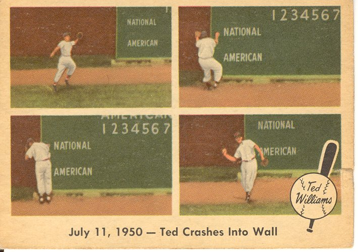 1959 Fleer Ted Williams #40 Ted Crashes into Wall
