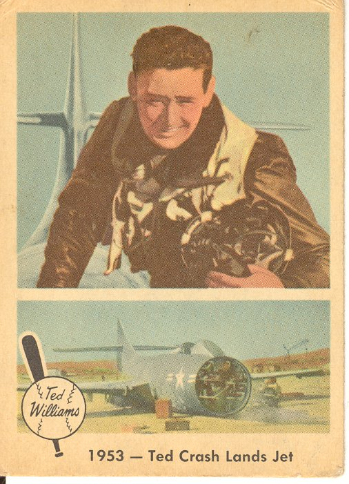 1959 Fleer Ted Williams #47 Ted Crash Lands Jet