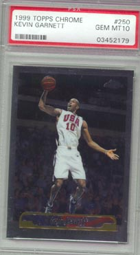 1999/00 Topps Chrome Basketball #250 Kevin Garnett PSA Gem Mint 10 Team USA