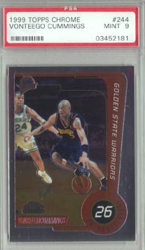 1999/00 Topps Chrome Basketball #244 Vonteego Cummings ROOKIE PSA MINT 9 NICE!!