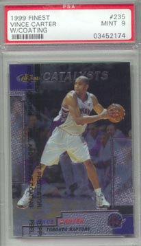 1999/00 Topps Finest Basketball #235 Vince Carter w/coating PSA MINT 9 NICE!!