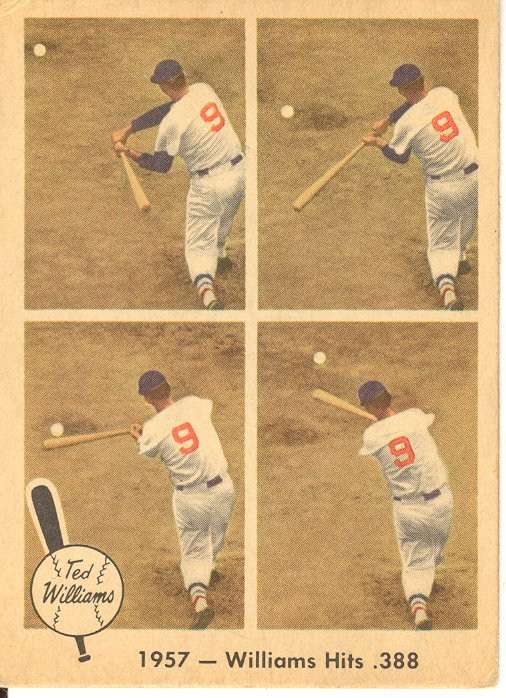1959 Fleer Ted Williams #58 Williams Hits .388