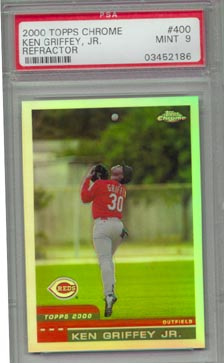 2000 Topps Chrome #400 Ken Griffey Jr Refractor PSA Mint 9 REDS BEAUTIFUL!!