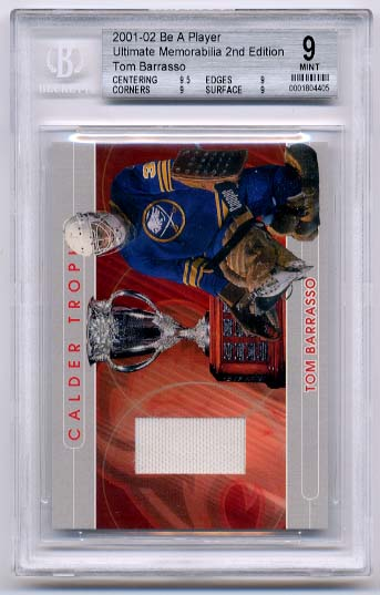 Tom Barrasso 2001-02 Be A Player Ultimate Memorabilia Calder Trophy BGS Grade 9