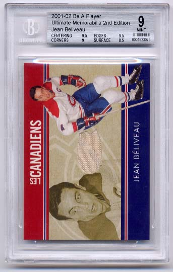 Jean Beliveau 2001-02 Be A Player Ultimate Memorabilia Les Canadiens BGS Grade 9