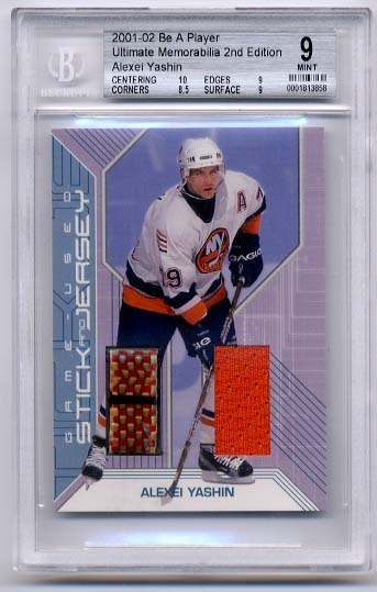 Alexei Yashin 2001-02 Be A Player Ultimate Memorabilia Jersey and Sticks BGS Grade 9