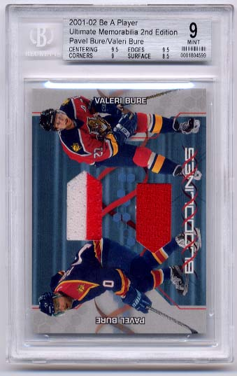 P.Bure/V.Bure 2001-02 Be A Player Ultimate Memorabilia Bloodlines BGS Grade 9