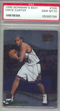 1998-99 Bowman's Best Basketball #105 Vince Carter ROOKIE PSA GEM MINT 10 AWESOME!!