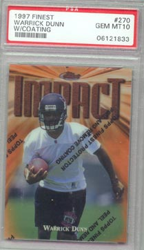 1997 Topps Finest Football #270 Warrick Dunn Rookie PSA Gem Mint 10 Tampa Bay Buccanneers