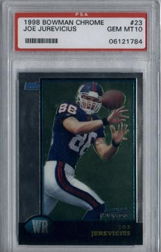 1998 Bowman Chrome Football #23 Joe Jurevicius ROOKIE PSA Gem Mint 10 New York GIANTS AWESOME!!!
