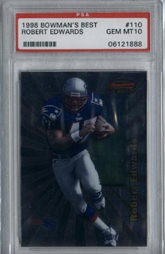 1998 Bowman's Best Football #110 Robert Edwards ROOKIE PSA Gem Mint 10 New England PATRIOTS AWESOME!
