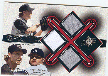 2001 SPx Winning Materials Update Trios #SJC Schilling/R.John/Clemens