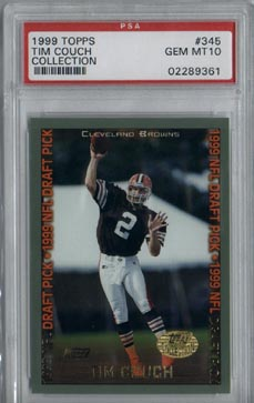 1999 Topps Collection Football #345 Tim Couch Rookie Gem Mint PSA 10 Cleveland Browns