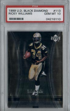 1999 Upper Deck Black Diamond Football #113 Ricky Williams Rookie Saints PSA Gem Mint 10