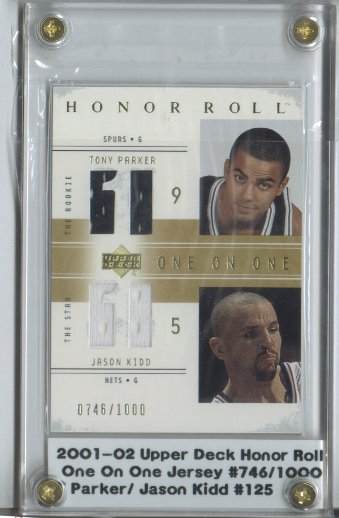 2001-02 Upper Deck Honor Roll #125 Tony Parker JSY RC/Jason Kidd JSY