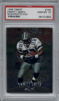 1998 Topps Finest Football #160 Emmitt Smith Non-Protected PSA Gem Mint 10 Dallas Cowboys