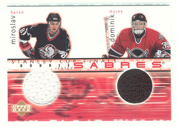 2001-02 Upper Deck Game Jerseys Series II #DJSH Miroslav Satan/Dominik Hasek