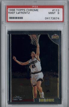 1998/99 Topps Chrome Basketball Raef LaFrentz Rookie PSA MINT 9 NICE!!