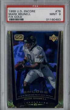 1998 Upper Deck Encore Football #78 Mark Brunell F/X Gold #54/125 PSA Mint 9 Jacksonville JAGUARS !!