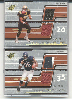 2001 SPx Winning Materials #WMAT1 Anthony Thomas/500