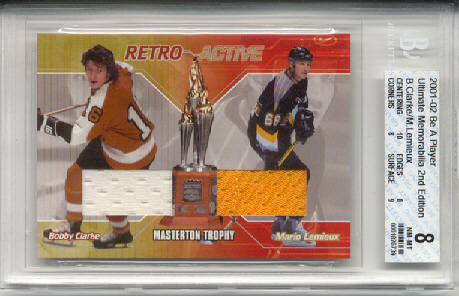 2001-02	BAP ULT. MEM. Mario Lemieux & Bobby Clarke Retro Active Dbl Jrsy Card (2 Colors) #d 13 of 25