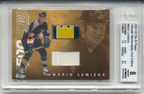 2001-02	BAP ULT. MEM. Mario Lemieux 500 Goal Scorers Jersey & Stick (3 Color) Card #d 17 of 20