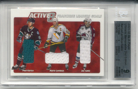 2001-02	BAP ULT. MEM. Mario Lemieux, Paul Kariya & Joe Sakic Active 8 Triple Jersey Card #d 12 of 30