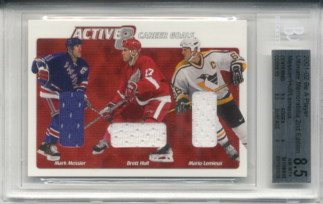 2001-02	BAP ULT. MEM. Mario Lemieux, Brett Hull & Mark Messier Active 8 Triple Jersey Card #d of 30