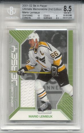 2001-02	BAP ULT. MEM. Mario Lemieux Game-Used Jersey Card #d 43 of 50