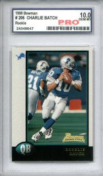 1998 Bowman #206 Charlie Batch RC Graded Pro Gem Mint 10