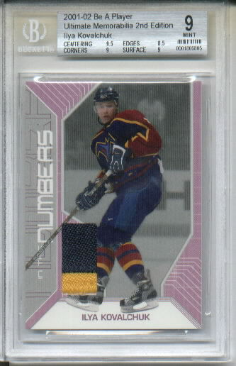 Ilya Kovalchuk 2001-02 Be A Player Ultimate Memorabilia Numbers BGS Graded Mint 9 Serial #17/20