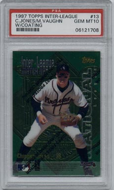 1997 Topps Finest #ILM13 Chipper Jones/Mo Vaughn Interleague Matchup PSA GEM MINT 10 BEAUTIFUL!!