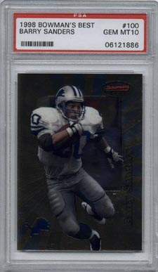 1998 Bowman's Best Football #100 Barry Sanders PSA Gem Mint 10 Detroit Lions