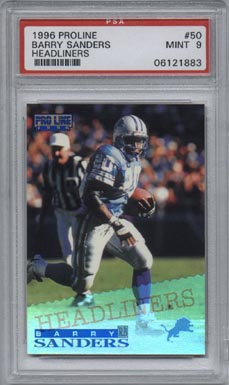 1996 Proline Football #50 Barry Sanders Headliners PSA Mint 9 Detroit LIONS HARD TO FIND!!