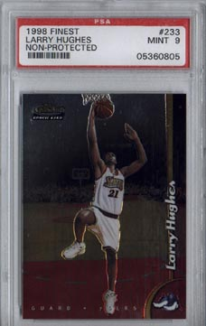 1998/99 Topps Finest Basketball #233 Larry Hughes Rookie Non-Protected PSA MINT 9 BEAUTIFUL!