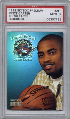 1998/99 Skybox Premium Basketball #2FF Vince Carter Fresh Faces PSA MINT 9 NICE!!!