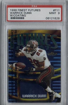1998 Topps Finest Football F11 Warrick Dunn Futures Finest PSA Mint 9 #454/500 Tampa Bay BUCCANNEERS