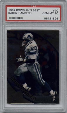 1997 Bowman's Best Football #70 Barry Sanders PSA Gem Mint 10 Detroit Lions