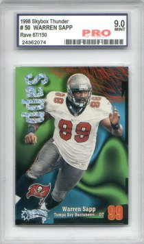 Warren Sapp 1998 Skybox Thunder Rave Graded Pro Mint 9 Serial #067/150