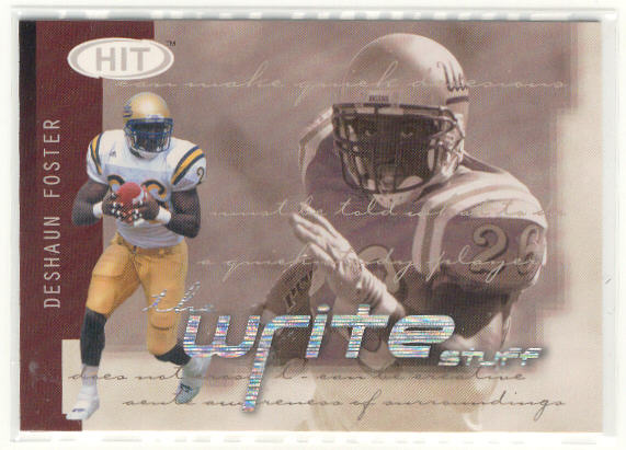 2002 SAGE HIT Write Stuff #6 DeShaun Foster