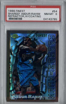1996/97 Topps Finest Basketball #54 Shareef Abdur-Rahim Rookie Refractor PSA 8 BEAUTIFUL!!