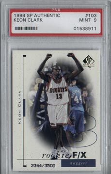 1998/99 Upper Deck SP Authentic Keon Clark Rookie PSA Mint 9 #2344/3500 NICE!!